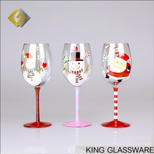 Hand painted promotional christmas wine glasses for brand store promotion gift favor wholesale