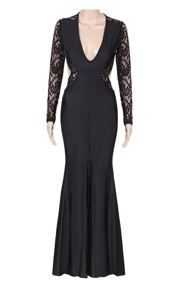 1e90ca9ca3 Get Quotations · Women Long Dress Sexy Black Lace Backless Dress Vestido De  Festa Sexy Flower Long Sleeve Elegant