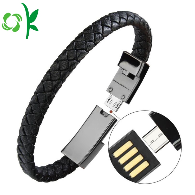 Fashion Leather USB Cable Cell Phone Charger Bracelet