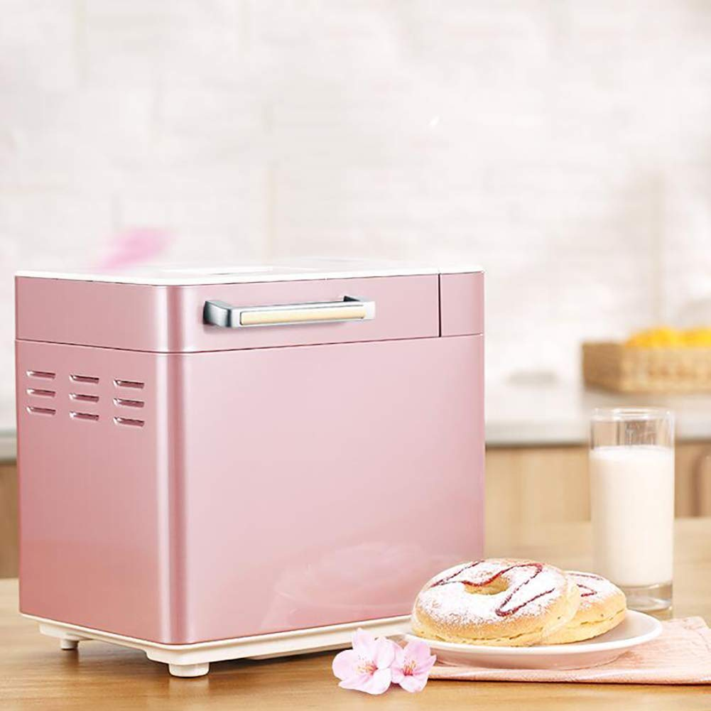 LJ-MBJ Bread Machine, Automatic Nuts and Fruit Dispenser Bread Baking Machine, Knead Dough, 2 Pound Capacity, Delay Timer, Stainless Steel Breadmaker-Pink