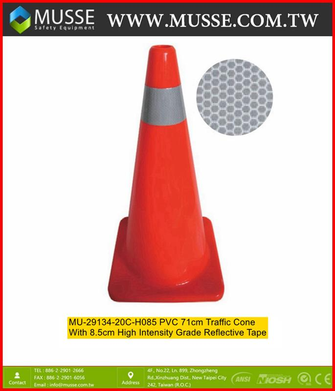 MU-29134-20C-085 PVC 71cm traffic safety cones with Reflective Tape