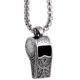 Men and Boys Punk Style Necklace Stainless Steel Antique Whistle Pendant Necklace Chain Length 60cm