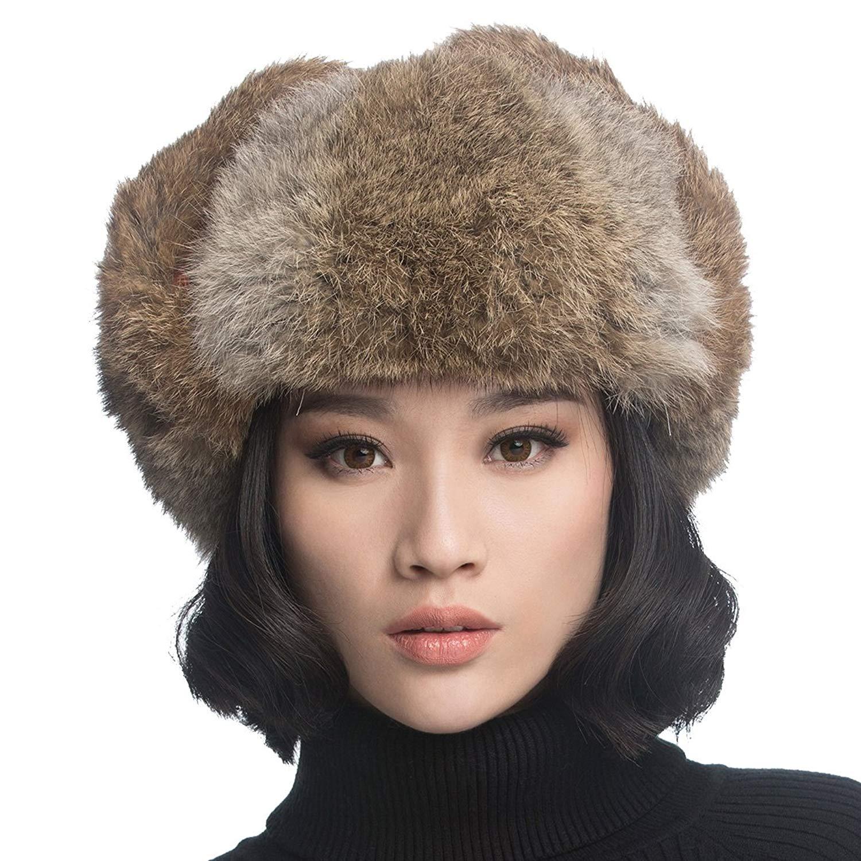 5c6a16c1954 URSFUR Unisex Aviator Hat Winter Russian Trooper Cap with Brown Rabbit Fur