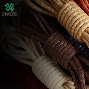 High Quality 100 % Cotton Waxed Round Rope Shoelaces For Leather Shoes Wholesale