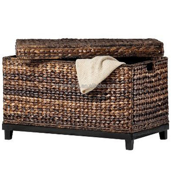 Natural Rattan Seagrass Water Hyacinth Wicker Storage Trunk Coffee Table