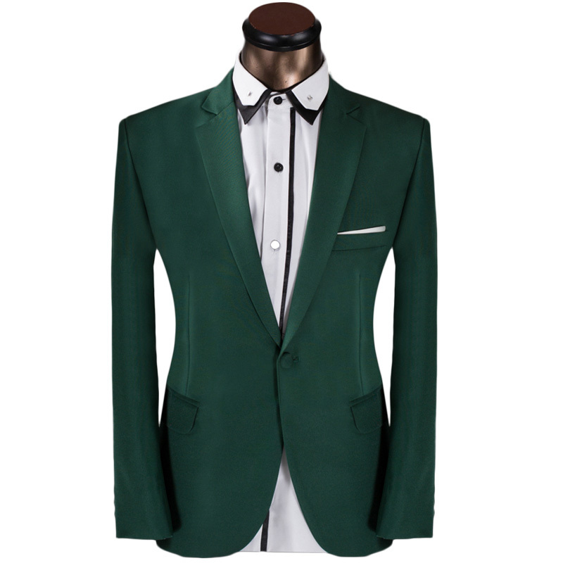 2015 New Arrival Men Single Button Suit Fashion Elegant Green Mens Prom Tuxedo Suits With Pants Groom Wedding Suits For Men 6XL