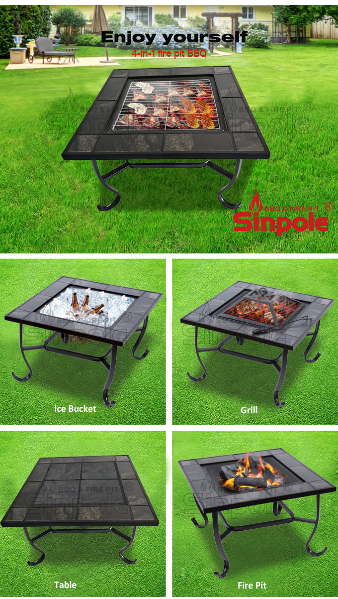 Commercial Korean Bbq Grill Table For Outdoor, Outdoor Stainless Steel Bbq  Table