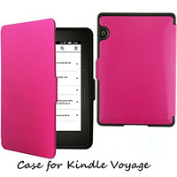 Hot Pink color PU leather case For Amazon Kindle Voyage,pu leather case with texture for kindle voyage