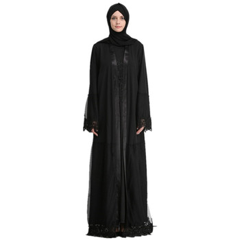 Fashion Black Lace Open Abaya Muslim Women Elegant Dubai Cardigan Lace Robe Dress With Belt arab costume Turkish Abaya