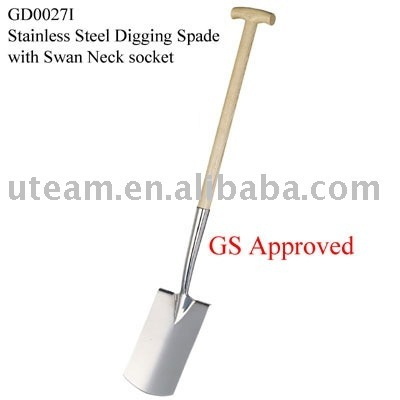 stainless steel digging spade with T-style wooden handle