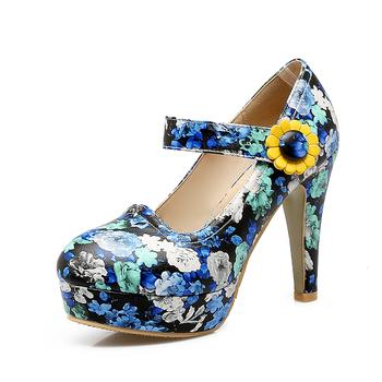 ef701034a99c Fancy platform high heel women blue buckle shoes fashion 11CM rubber shoes