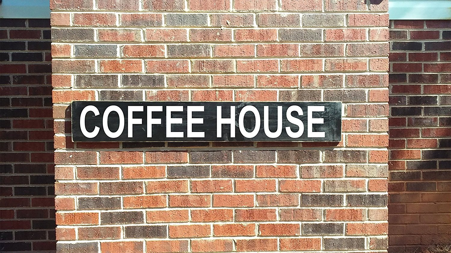 Coffee House vintage style and painted wood sign, distressed rustic wood sign for man cave or home decor.