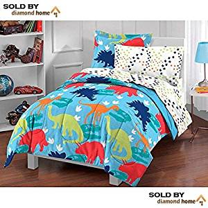 5 Piece Kids Twin Dinosaur Toddler Bedding Set, Bed in a Bag Dinosaur Comforter Set Print, Prehistoric Dinosaur Theme, Multi Pattern, Blue Green Red White Orange, Unisex Children, Girls, Boys