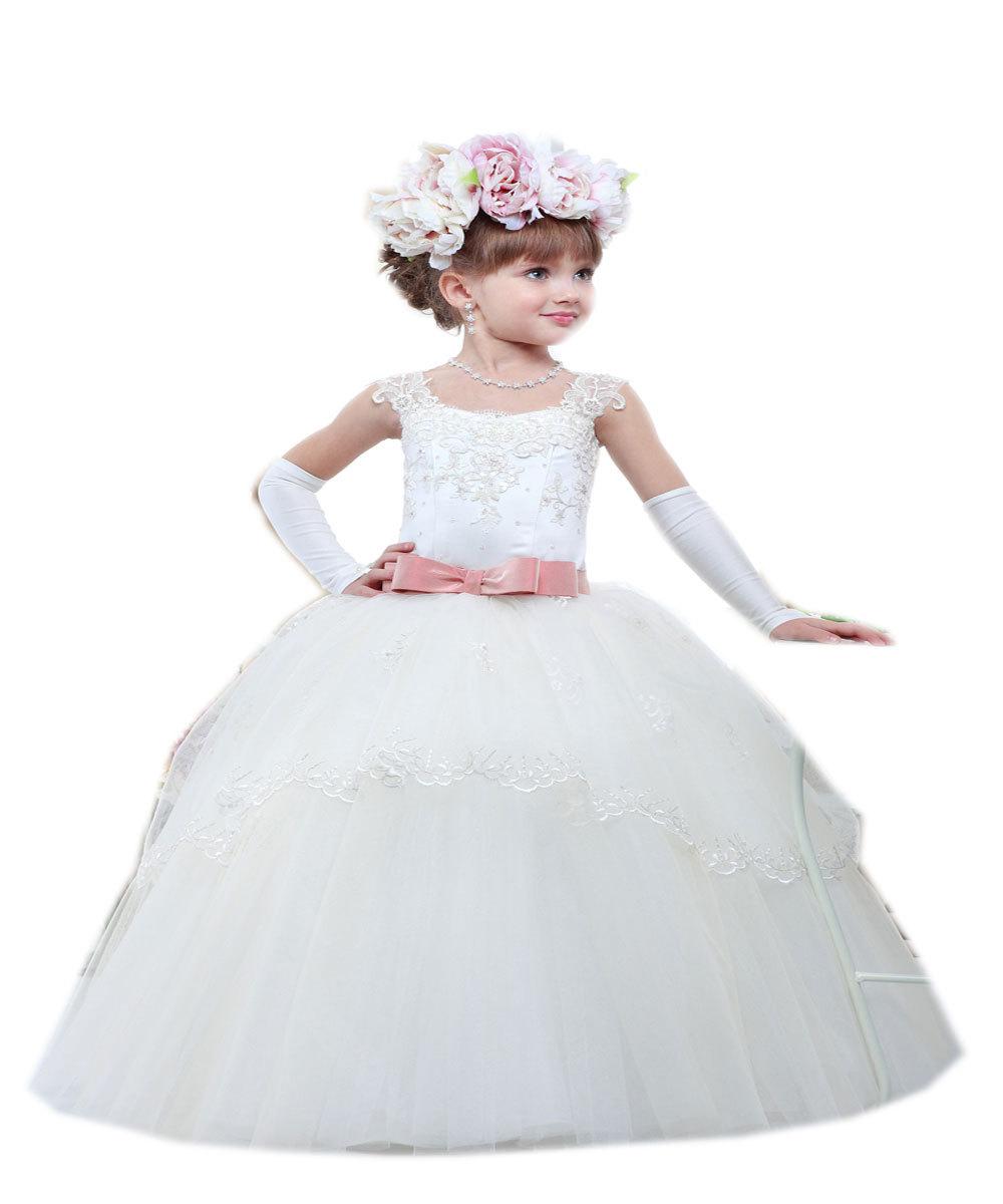 9a9f5ae5c88 Get Quotations · Vestidos De Comunion Princess 2015 Cheap White  Ivory  Tulle Lace Flower Girl Dresses First Communion
