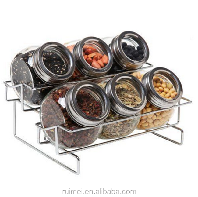 6 Jar Metal Food Spice Kitchen Storage Container Rack For Foods