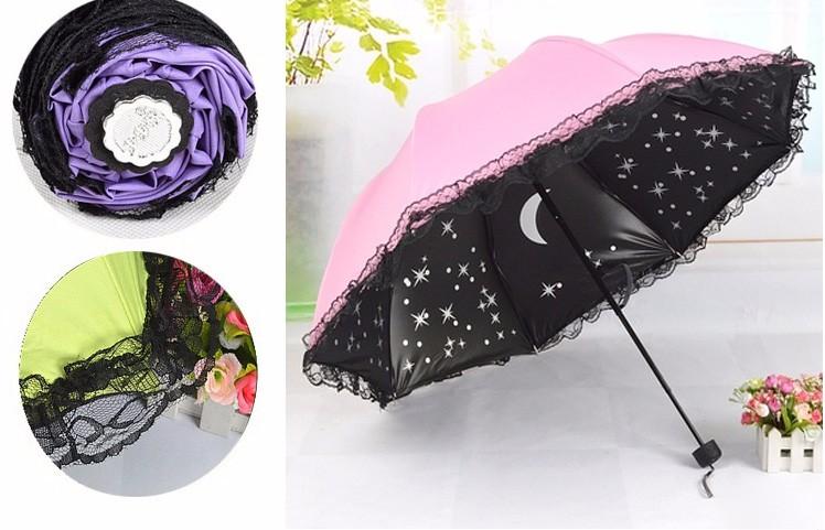 Women Beautiful Starry Sky Windproof Anti UV Sun Rain Princess Lace  Umbrella Folding Parasol Girls Gift - us349 a4eff0503270