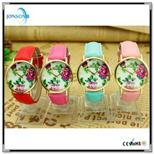 Minimalist style print flower lady colorful strap Watch with 18k gold dial