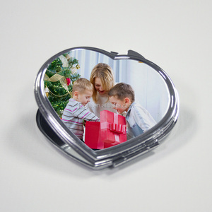 Sublimation blank folding metal photo compact mirror