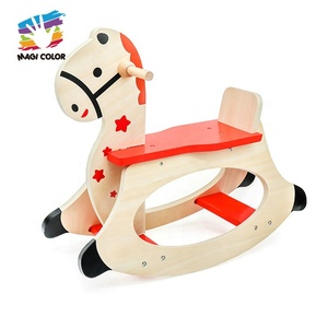 Wholesale cheap toddlers wooden riding horse toy high quality kids wooden riding horse toy for sale W16D019