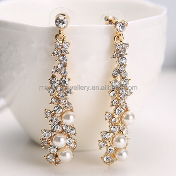 Hanging Earring Design Tels Long Drop Pearls