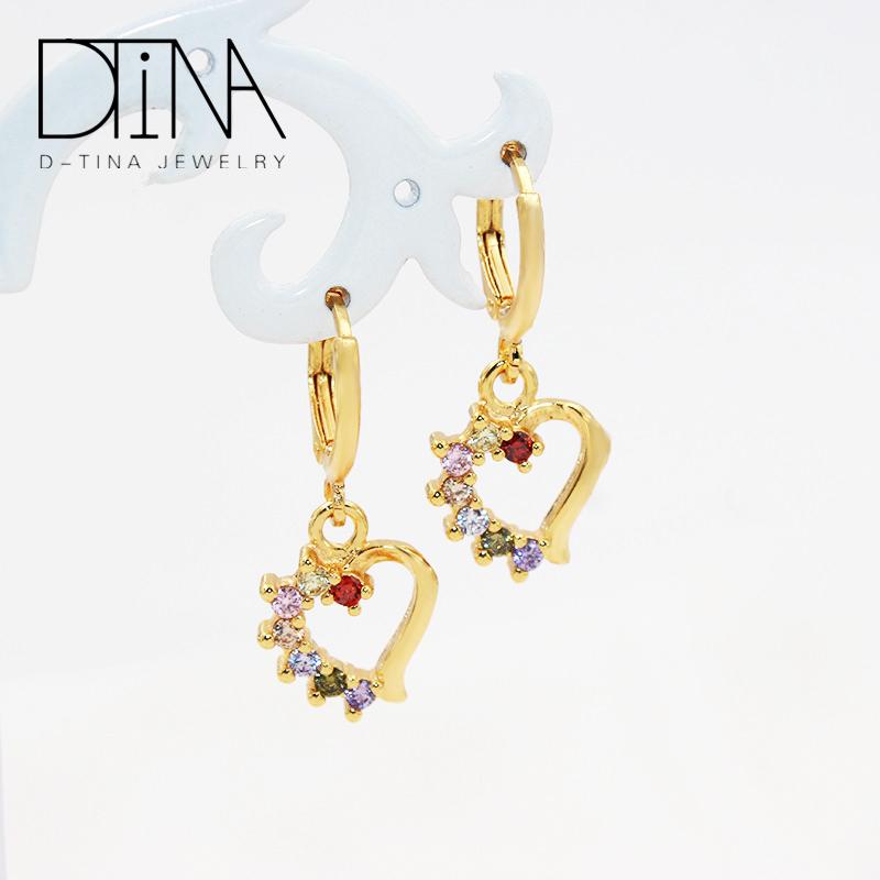 DTINA 18K Gold Plated Earrings Fashion Gem Heart Pendant Long Earrings, Golden
