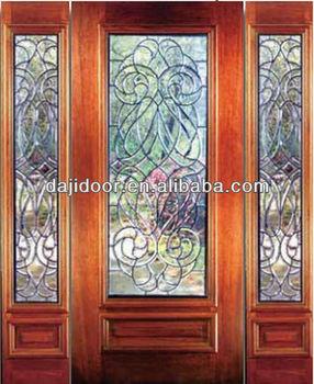 Glass Side Panel Wooden Safety Doors Design Exterior Dj