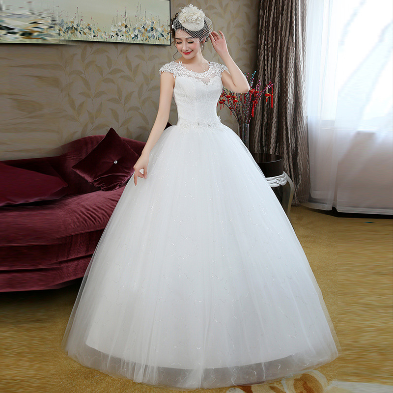 2018 Modern Simple Elegant Bridal Gown Plus Size Cheap Ball Gown Cap ...