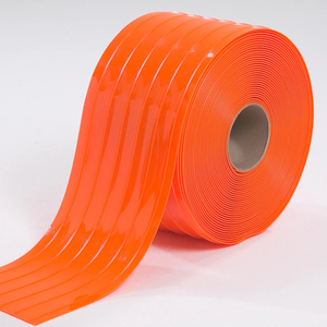China Industries Clear Soft Plastic Air Curtain Anti-insect Amber Clear Double Ribbed Vinyl Pvc Strip Manufacture