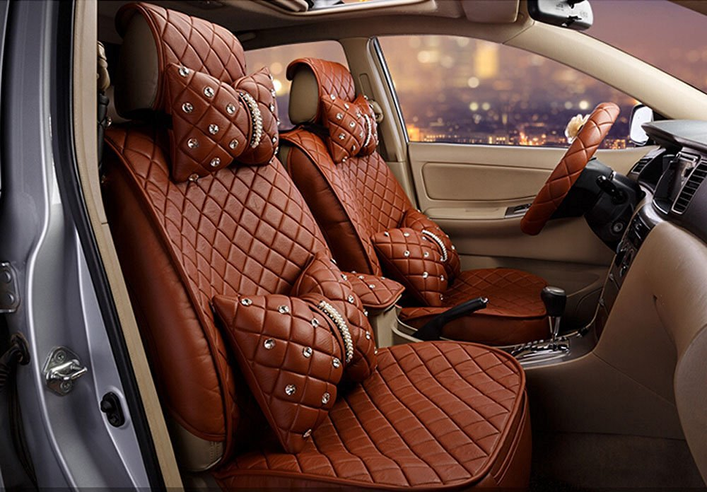 18pc superior quality luxury coffee Seat Covers imitation leather Seating Universal Full Set car seat cover Easy to install Fit Most Car