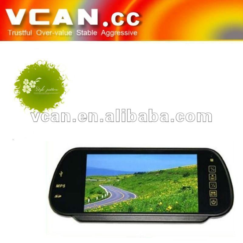 Newly 7inch Rearview Mirror LCD Monitor Support MP5 Bluetooth mirror monitor rear view MP5+USB+SD+FM function wholesale