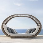 Used Bali Hotel Pool Furniture Garden High quality modern resin brown round wicker rattan outdoor daybed