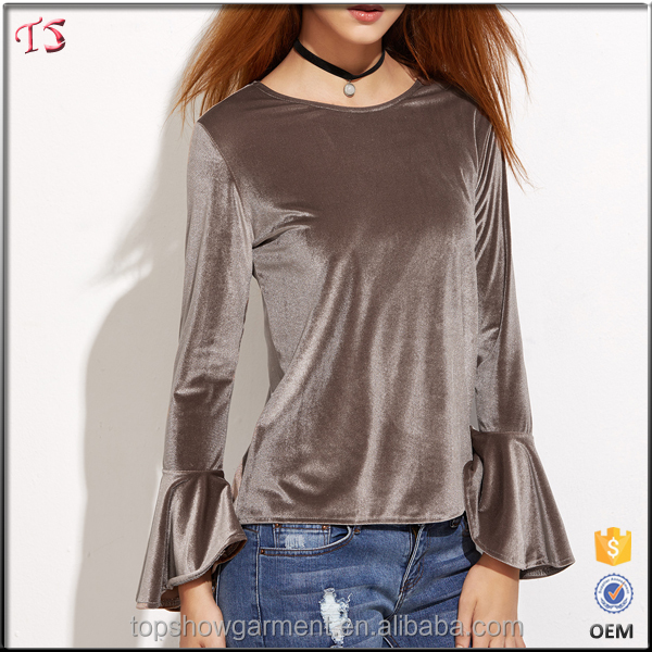 New pattern fashion bell sleeve velvet 100% polyester wholesale blank t-shirts