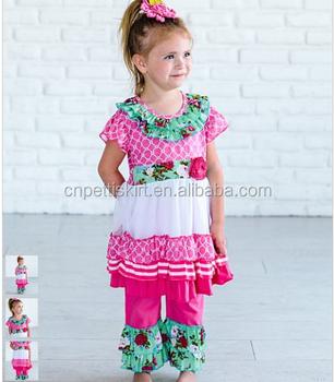 2018 Pretty Flower Girl Frocks Princess Dress And Ruffle Pants 100