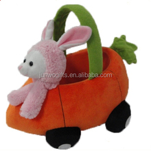 Custom Fine Quality lovely pink Rabbit and carrot basket plush toy