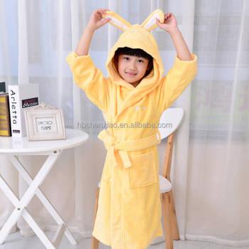 Children Girls Kids Dressing Gown Fleece Robe Animals Duck Hearts ...