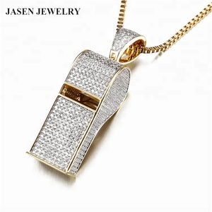 Hot sale fashion personalized design shiny zircon whistle shape 925 silver pendant