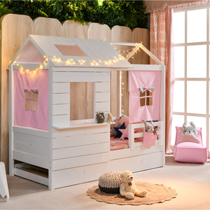 Sampo Kingdom Kids Bed Wholesale Solid Wood Kids Play Room Small House Luna Bed With Tent and Toys Case