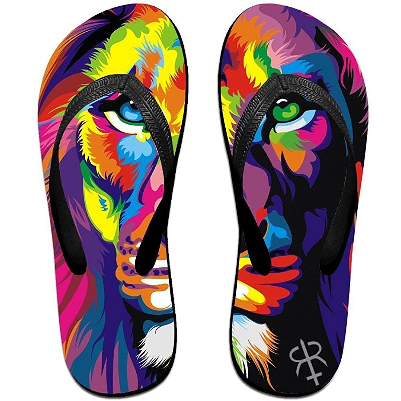 Starmiami Unisex V Flip Flops Artistic Colorfull Lion Personalized Summer Slipper