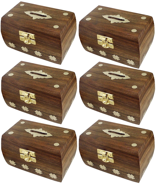 "Set of 6 - Treasure Chest Money Box - Safe Money Box Savings Banks Wooden Carving Handmade - Large Piggy Bank for Kids 4.5"" x 3"" x 3"""