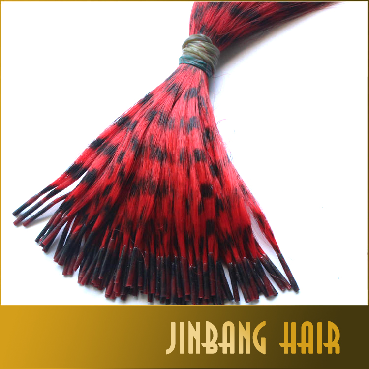 Good Quality 100pcs/lot Feather Printed Colorful Synthetic Hair Extension I Tip Hair Extension