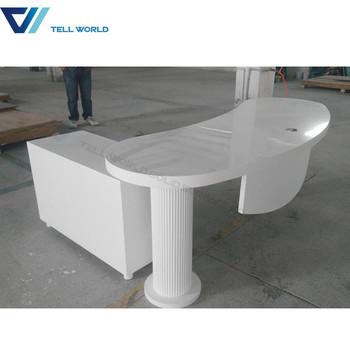 Modern White Curved Office Desk