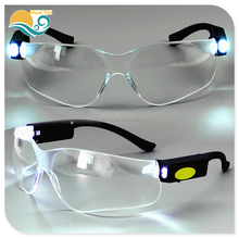 Wholesale labor protective goggles with LED lights chargeable riding anti-shock anti-UV safety glasses