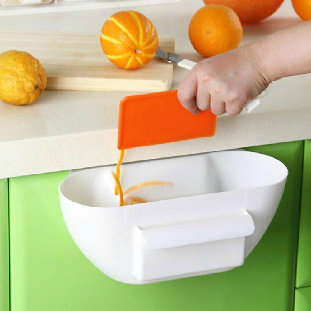 Creative Multifunctional Plastic Kitchen Desktop Hanging Food Waste Garbage Bowl Bin Rubbish Organizer Trash Junk Box, Compost Pail Bin, Scrap Trap