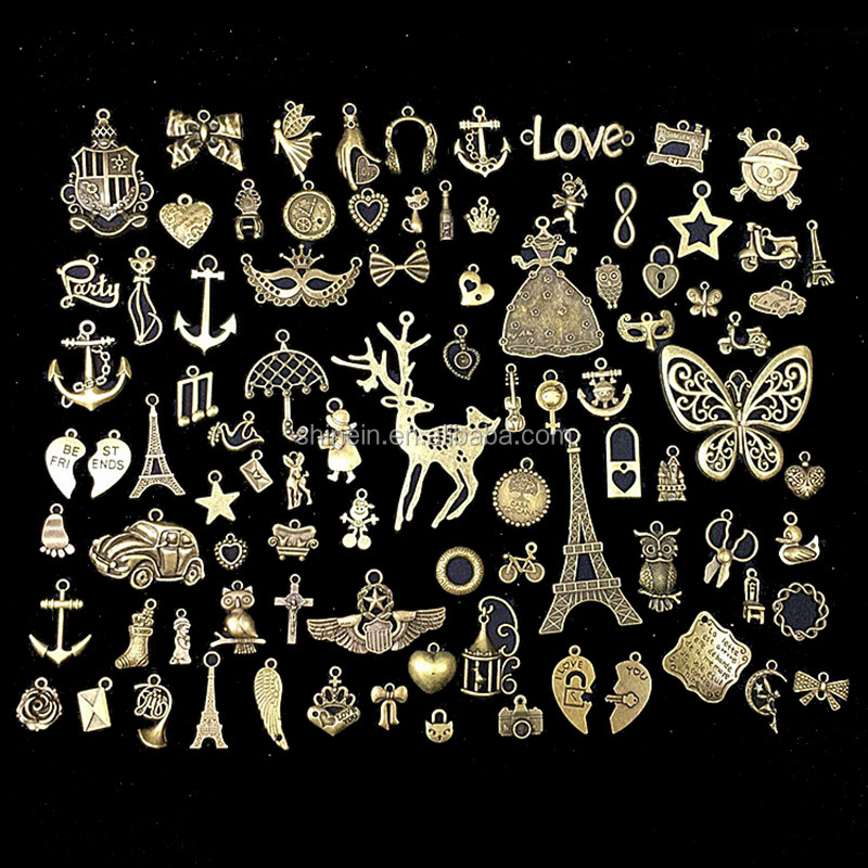 Wholesale 90pcs of mixed design metal charms for decoration