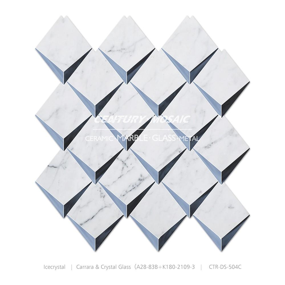 3d Patrón Icecrystal Mármol De Carrara Cristal Mezcla De Cocina ...
