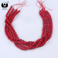 Smooth dyed semi precious stone beads loose beads red coral beads