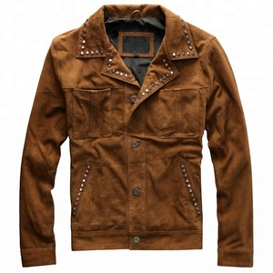 P18E127BE men real suede leather motorcycle biker punk fashion jackets with metal decorative rivet