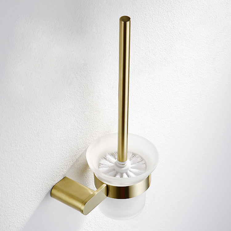 Super Cleaning Ability Brushed Gold <strong>Stainless</strong> <strong>Steel</strong> <strong>Toilet</strong> <strong>Brush</strong> and Holder Set