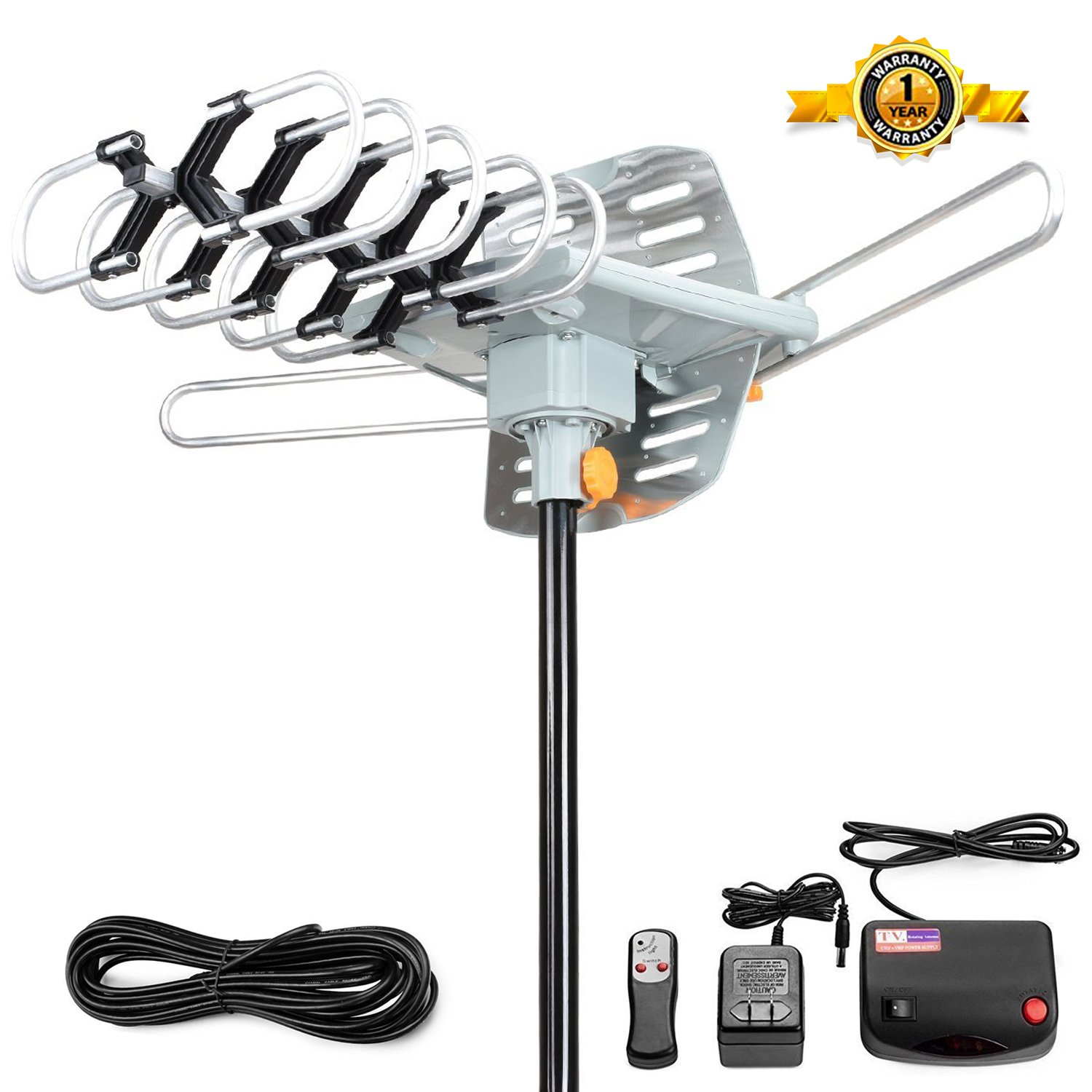 Outdoor Amplified HDTV Antenna Digital TV Antenna 150 Miles 360° Degree Rotation HD Digital Outdoor Indoor HDTV Antenna with Remote controller by Ailuki