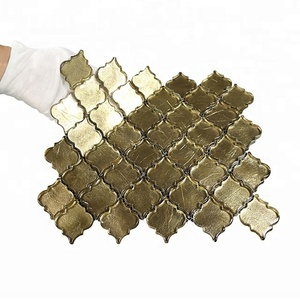 Luxury Clear Antique Mosaic Glass tile for kitchen Backsplash Panel Gold foil Glass Mosaic Tile Lantern Mosaic Tile